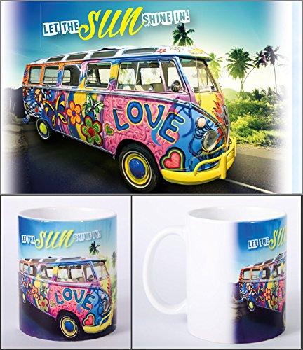 Witziger Henkelbecher, Kaffeetasse mit Motiv VW Bus Bulli