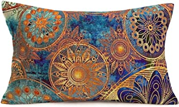 Bohemian Ethnic Style Throw Pillow Covers Cotton Linen Colorful Retro Floral MandalaPattern Decorative Throw Pillow Case ...