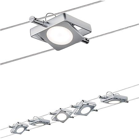Paulmann 941.08 MacLED Système d'éclairage à spots suspendus - Kit de luminaires sur fil tendu avec 5 lampes carrées, câble de 10 m et transformateur DC 30VA - Plafonnier en suspension max 20W, chromé