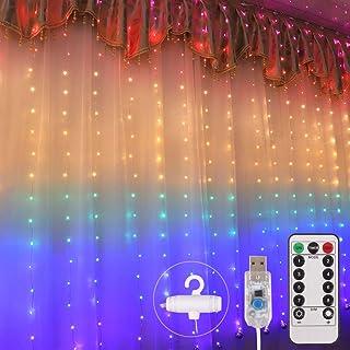 Pulchram bunt LED USB Lichtervorhang 2m x 1.5m,210 LEDs USB Lichterkettenvorhang mit 8 Modi Wasserfest für Partydekoration deko schlafzimmer, Hochzeit Garten,Innenbeleuchtung(bunt)