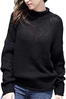 Women's Turtlenecks Sweaters Batwing Long Sleeve Chunky Pullover Knit Jumper