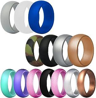 FineGood - Fedi nuziali in silicone, 14 pezzi, per uomo e donna, in gomma, resistente, confortevole, multicolore