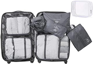 8 Set Packing Cubes - WantGor 6 Travel Organizer Luggage Compression Pouches + 1 Shoes Bag+ 1 Clear Toiletry Bag (Grey)