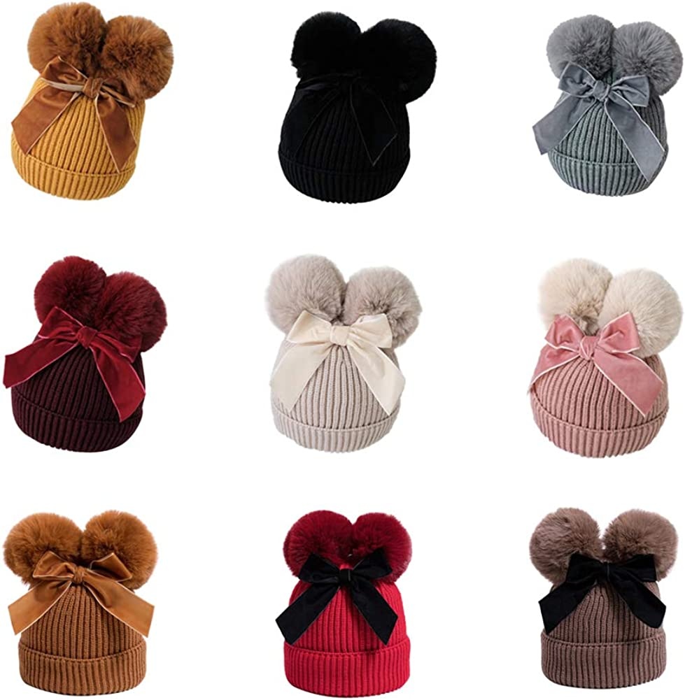 Yuemengxuan Cute Baby Girl Boy Winter Knitted Beanie Bobble Hat Double Pompom Bow Warm Thicker Hat for Kids Children