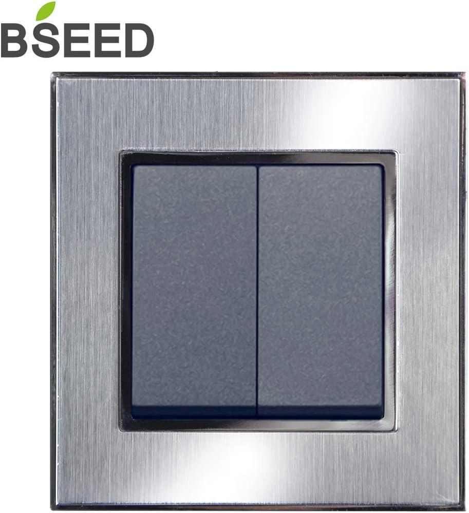 BSEED 16 Amp Brushed Steel Satin Cromo Wandlichtschalter gris 2 Fach 2 Weg Lichtschalter Unabh/ängig profundo