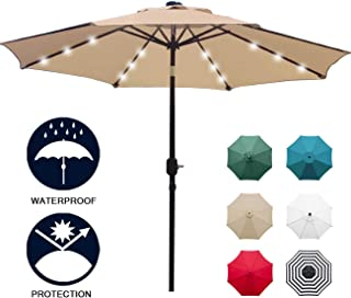 Sunnyglade 9' Solar 24 LED Lighted Patio Umbrella with 8 Ribs/Tilt Adjustment and..