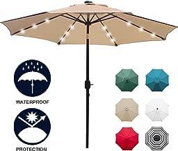 Sunnyglade 9' Solar 24 LED Lighted Patio Umbrella with 8 Ribs/Tilt Adjustment and Crank Lift System (Light Tan)