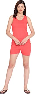 American-Elm Women's Pink Cotton Sleeveless Slim Fit 2 PC Night Set