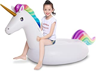 Jasonwell Big Inflatable Unicorn Pool Float Floatie Ride On with Fast Valves Large Rideable Blow Up Summer Beach Swimming ...