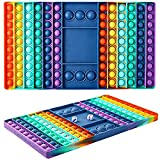 MCLHP Chess Board Pop Fidget Bubble Sensory Toy, Silicone Fidget Popper Toy for Kids and Adults, for Anxiety Stress Reliever, Autism Special Needs, Birthday Party Gifts (Rainbow Chessboard)