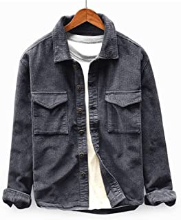 Mens Corduroy Trucker Jacket Long Sleeve Thick Canvas Shirt Button Down Slim Fit Outwear Casual Sports Coat