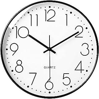 LiRiQi Horloge Murale Silencieuse sans tic-tac Quartz Ronde Pendules Murales pour Salon Cuisine Bureau, Horloge Murale Des...