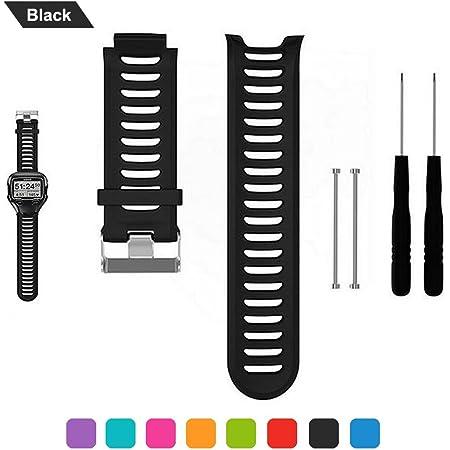 Bracelet de Montre pour Garmin Forerunner 910XT, Bande de Remplacement en Silicone avec des Outils de Retrait pour Garmin Forerunner 910XT, Noir