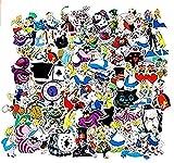ZJJHX Dibujos Animados Alicia en el país de Las Maravillas Graffiti Pegatina Maleta Nevera Impermeable monopatín PVC Pegatina 70 Hojas