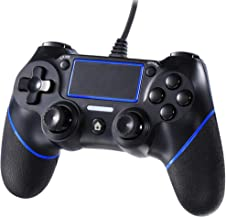 Cypin PS4 Wired Game Controller, USB Wired Dual Shock Gamepad for Playstation 4 /Slim/pro, Playstation 3 and PC, Cable Length 6.5ft, Blueblack