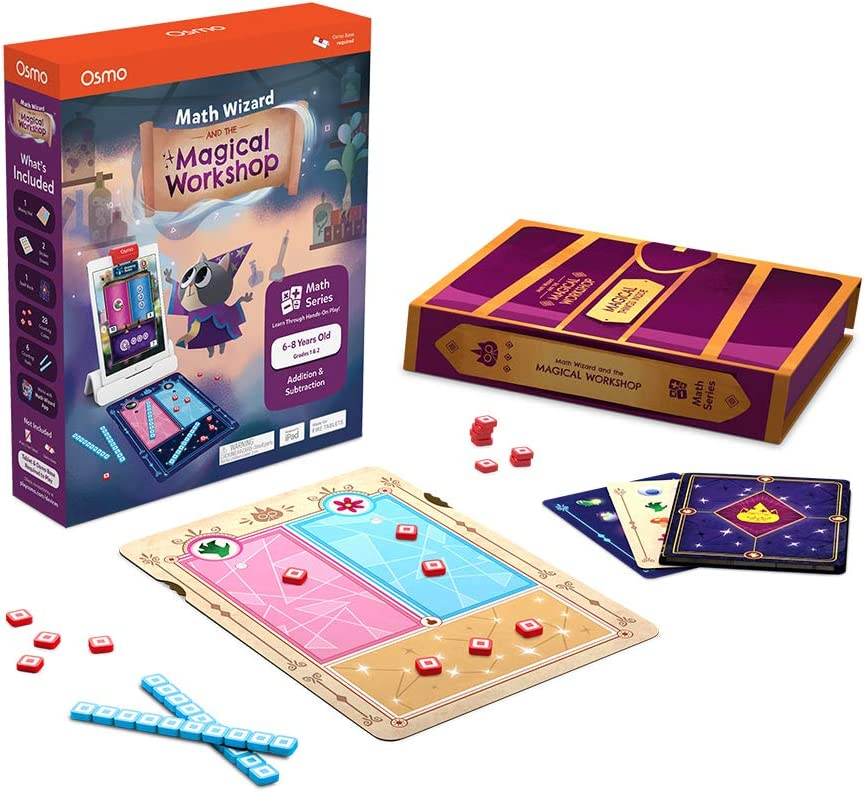 Osmo - Math Wizard and the Magical Workshop for iPad & Fire Tablet - Ages 6-8/Grades 1-2 - Addition & Subtraction - Curriculum-Inspired - STEM Toy (Osmo Base Required)