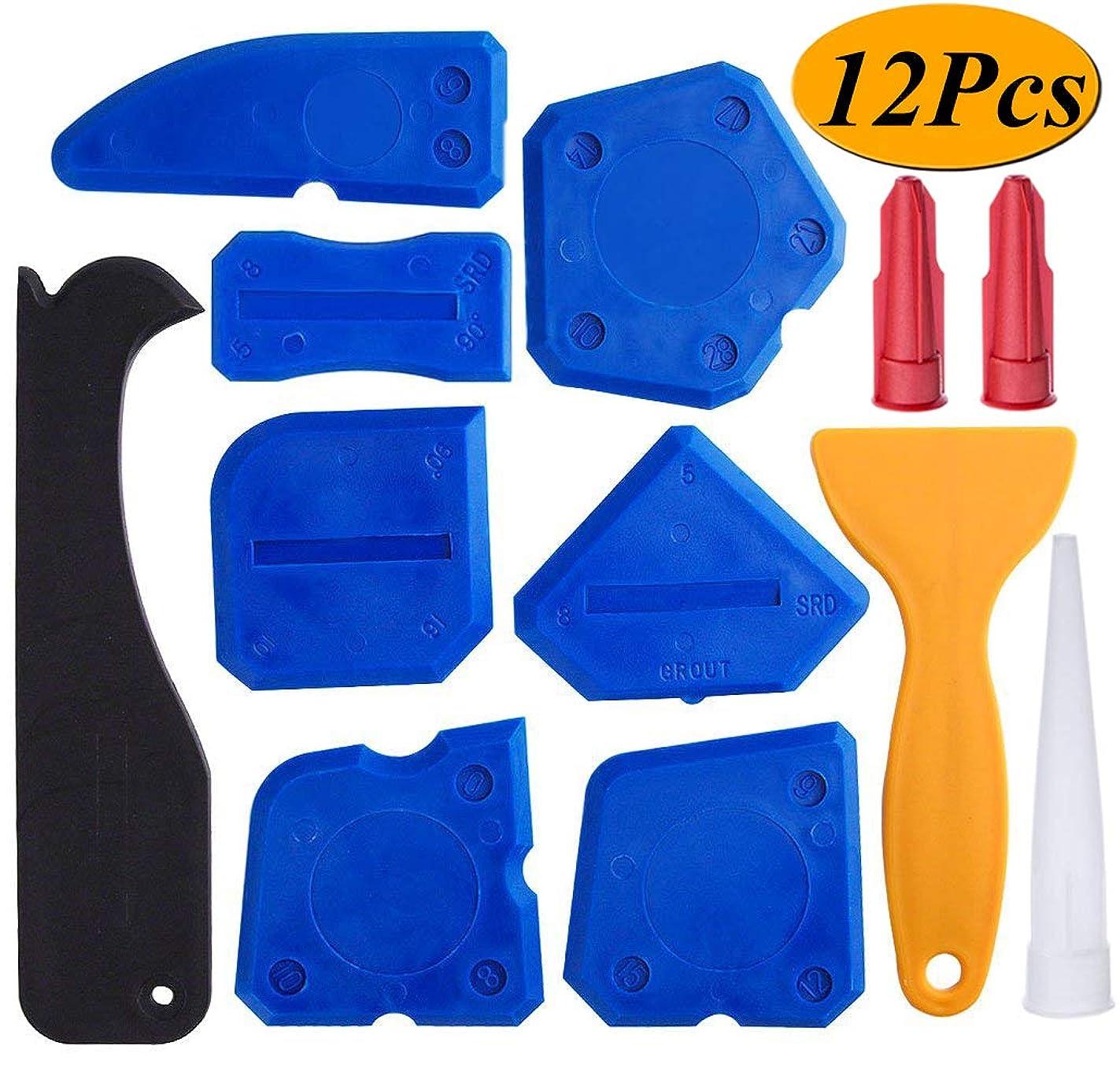 12 Pieces Caulking Tool Kit Sealant Tools Silicone Sealant Finishing Tool Grout Scraper Caulk Remover and Caulk Nozzle and Caulk Caps (Blue)