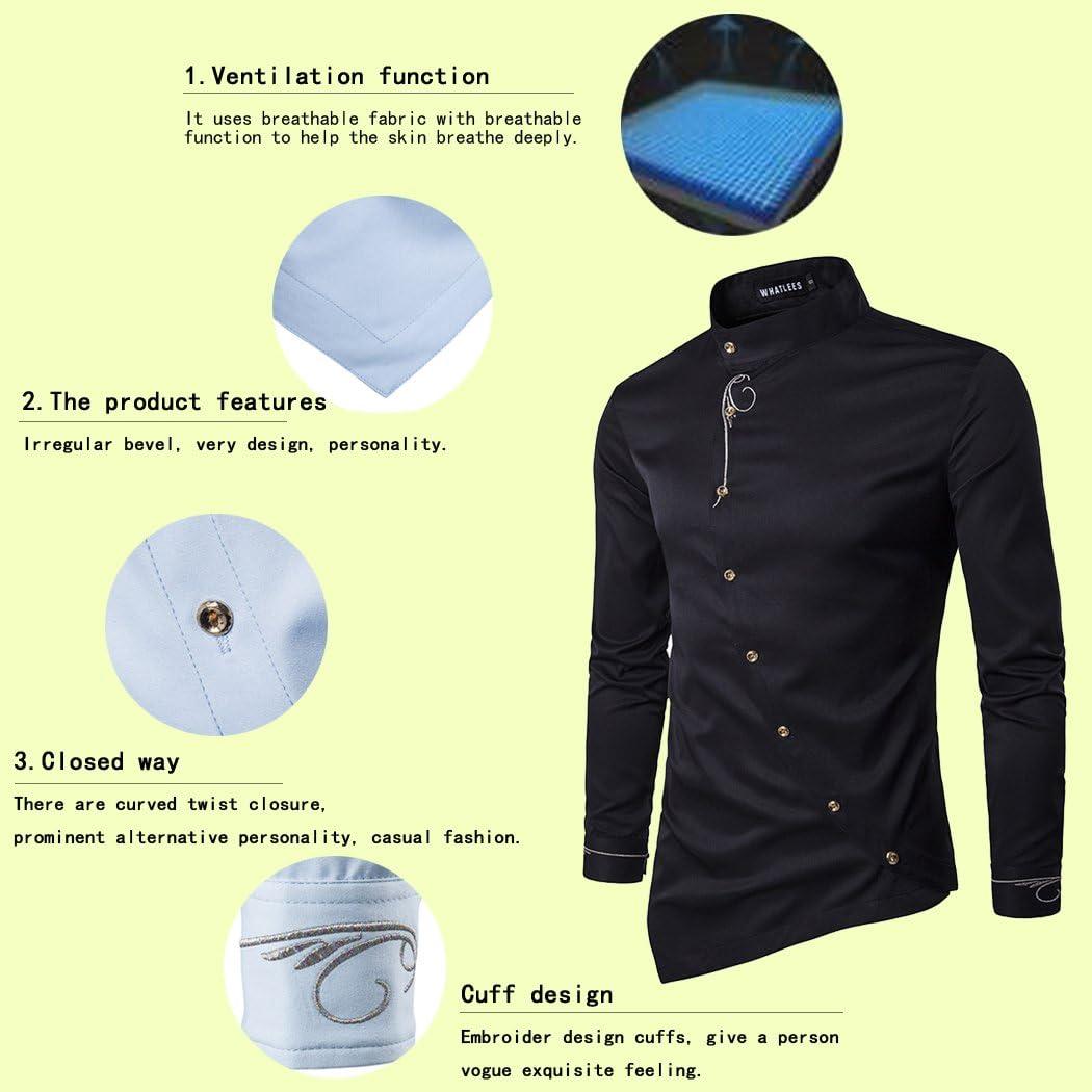 HOP Men's Casual Irregular Hem Slim Fit Button Down Dress Shirt