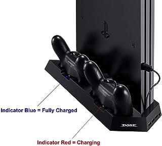 [Cargador vertical de soporte para PS4/PS4/PS4 Slim] KINGTOP PS4/PS4 Pro/PS4 Slim Dual controlador estación de carga con ventilador de refrigeración para Sony Playstation 4 Dualshock 4 Pro consola de juegos