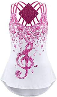 Wintialy Ladies' Bandages Sleeveless Vest Top Musical Notes Print Strappy Mini Dress