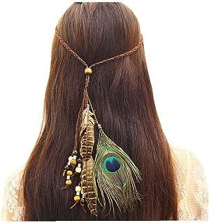 Bohemia Peacock Feather Headdress Headband Braid Hair Hoop Headband Lead Rope for Women Girls Party Decoration Halloween Cosplay Costume