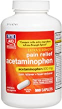 Rite Aid Extra Strength Acetaminophen, 500mg - 500 Caplets   Pain Reliever & Fever Reducer   Migraine Relief Products   Joint & Muscle Pain Relief Pills   Menstrual Pain Relief   Back Pain Relief