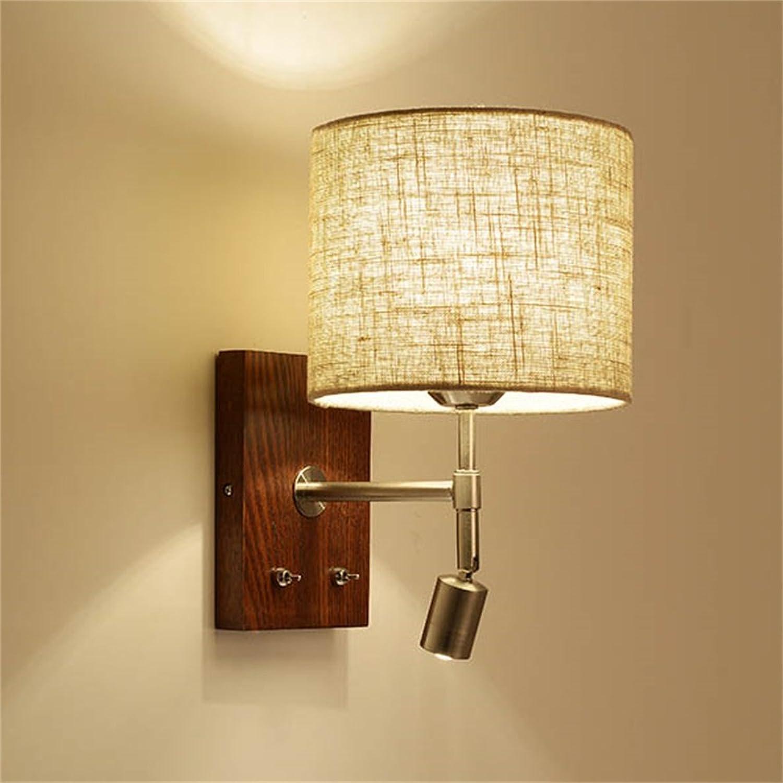 WCS Nachttisch Wand Leselicht LED Schlafzimmer Parlour Gang Einfache moderne Nordic Switch Line Massivholz Wandleuchten (Farbe   Without plug wire)