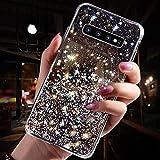 Uposao Kompatibel mit Samsung Galaxy S10e Hülle Glitzer Diamant Sterne Glänzend Kristall Strass Bling Schutzhülle Crystal Clear Silikon Durchsichtig Hülle Ultradünn TPU Bumper Tasche,Schwarz