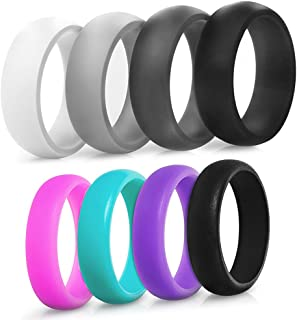 Silicone Ring Wedding Band for Men and Women - 4 Pack