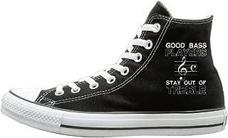 Laotan Men & Women Electric Bass Guitar Players No Treble High Top Sneakers Canvas Shoes Cool Sport Shoes Vintage Black