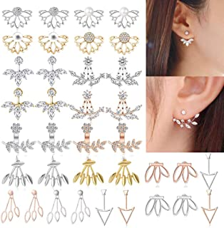 062cd844dd56a9 WAINIS 18 Pairs Multiple Dainty Lotus Flower Ear Jacket Stud Earrings for  Women and Girls Boho
