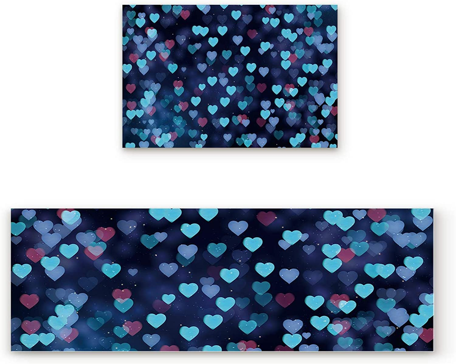Aomike 2 Piece Non-Slip Kitchen Mat Rubber Backing Doormat Romantic bluee Hearts Valentine's Day Runner Rug Set, Hallway Living Room Balcony Bathroom Carpet Sets (19.7  x 31.5 +19.7  x 63 )