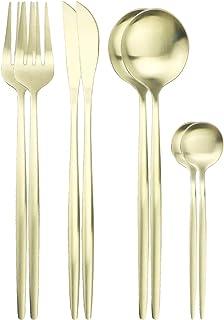 couverts 8pcs Couverts Set Couteaux Forks cuillère à thé dîner Set en acier inoxydable de vaisselle de cuisine Art de la t...