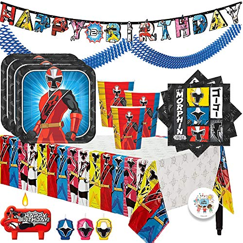 The Ultimate Power Rangers Ninja Steel Birthday Party Supplies Pack For 16 With Plates, Cups, Napkins, Tablecover, Candles, Garland, Add An Age Birthday Banner, and Exclusive Pin By Another Dream