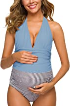 Ziola One Piece Maternity Swimsuits Stripe Halter Swimwear Deep V Neck Monokini High Waisted Bathing Suits