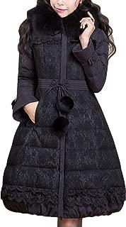Tanming Women's Fashion Warm Down Coat Jacket with Detachable Raccoon Fur Trim