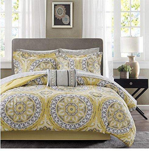 9 Piece Bright Yellow Medallion Motif Comforter Set Cal King Size, Featuring Elegant Floral Solid Reversible Design Comfortable Bedding, Stylish Contemporary Unique Vibrant Bedroom Decor, Multicolor