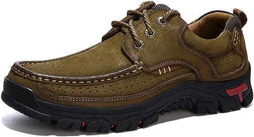 XHD-Chaussures Mode pour Hommes Oxford Décontracté Bas-Haut Classique Style Britannique Bout Rond Chaussures d'escalade extérieures (Couleur   Kaki, Taille   39 EU)