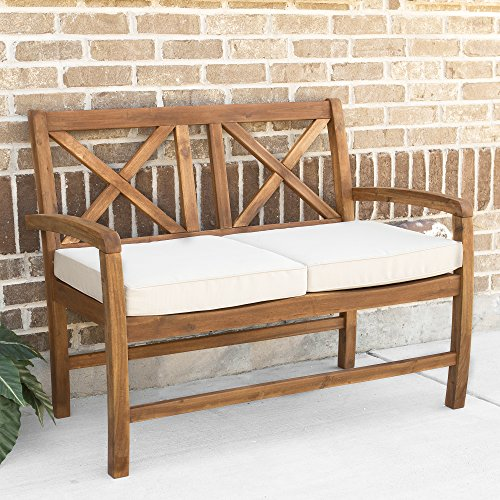 Walker Edison Delray Classic Acacia Wood X Back Patio Loveseat with Cushions, 40 Inch, Brown