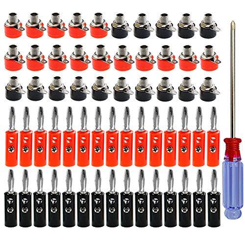 QitinDasen 30 Pares Premium 4mm Banana Conector Plug Socket, Chapado Nickel Banana Enchufe y Binding Post Terminal, para Altavoz, Audio/Video Receptor (Rojo & Negro)