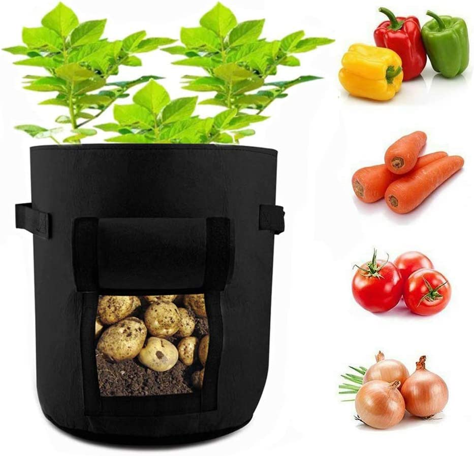 WHATWEARS Potato Grow Bags Fabric Pots 5 Gallon 2 Pack with Flap Velcro Window and Handles Garden Vegetable Grow Bags Tomato Planter Bag Thickened Breathable Nonwoven Garden Container Pot Black
