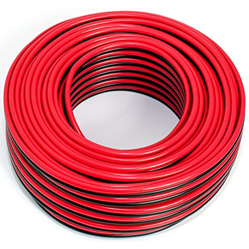 Cable de altavoz 2 x 2,50 mm², 25 m, rojo y negro, CCA, cable de audio