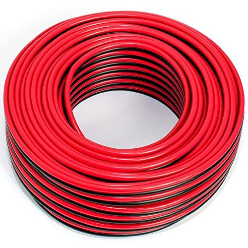 Cable de altavoz 2 x 2,50 mm², 25 m, rojo y negro, CCA, cable de...