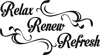 Wall Decal Quote Relax Renew Refresh Vinyl Sticker Home Decor