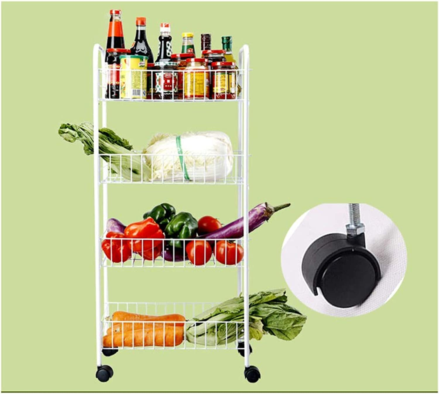 XLong-Home Trolley Rack Multi-Function Vegetable and Fruit Shelf Carbon Steel Kitchen Rack with Wheel Cart 4-Tires