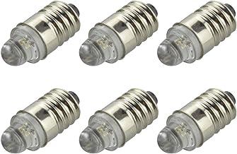 Ruiandsion 6 stks E10 LED Lamp 3 V 0.1 W 3000 K Warm Wit LED Lamp voor Zaklamp Zaklamp Koplamp, Negatieve Aarde