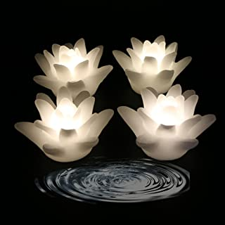 Acmee (Pack of 4) Flameless Wax LED Water Floating Lotus Candle Light for Wedding or Event Decoration./LED Floating Candle Light in Flower Shape (Warm White)