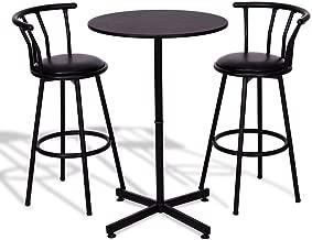 Anya Nana Ideal Seat 3 pcs. Kitchen Bar Table Set 2 Stools Pub Breakfast Bistro Kitchen Furniture Black