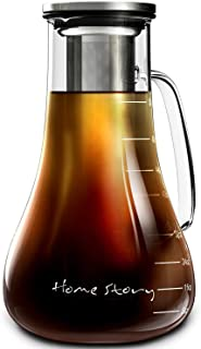 Cold Brew Coffee Maker | Glass Cold Brew Maker Pitcher 52 oz | Iced Coffee Maker Brewer Kit | Works Even as Large Cold Press Coffee Maker Pot or Hot Iced Tea Maker Infuser Carafe | Coffee Lovers Gift