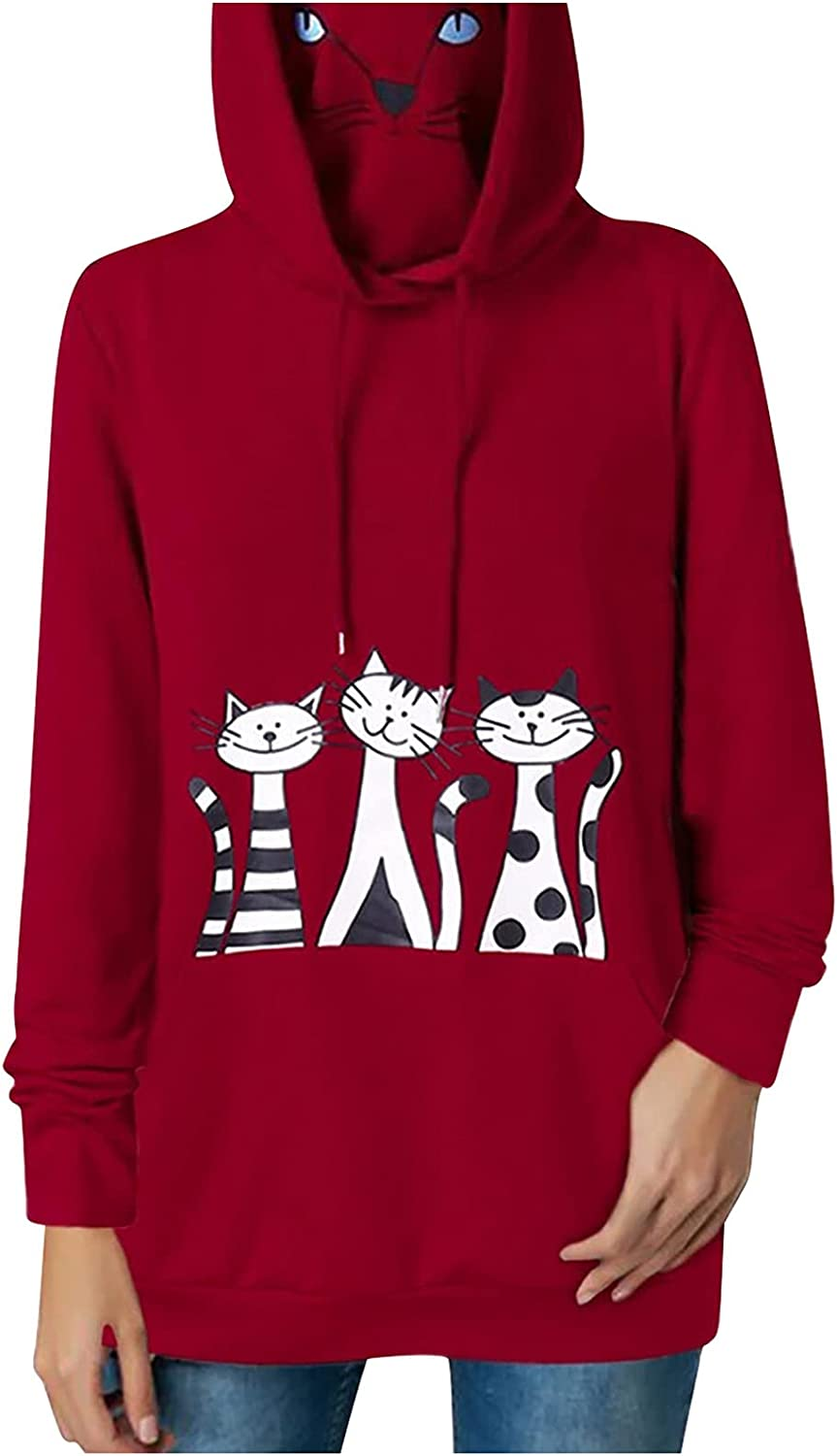 Womens Three Cute Cat Print Cat Face Cover Face Drawstring Hoodies Long Sleeves Casual Loose Pullover Tunic Tops